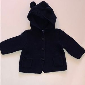 BABY GAP Navy Blue Knit Hooded Sweater